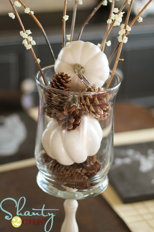 White pumpkins and pine cones shanty chic