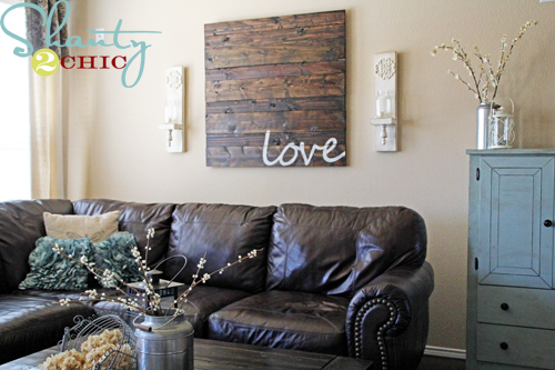 Reclaimed wood wall art shanty 2 chic Over the sofa wall decor ideas