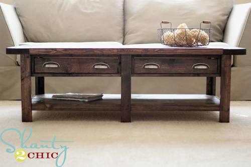 Diy pottery barn inspired benchwright coffee table for Pottery barn bench plans