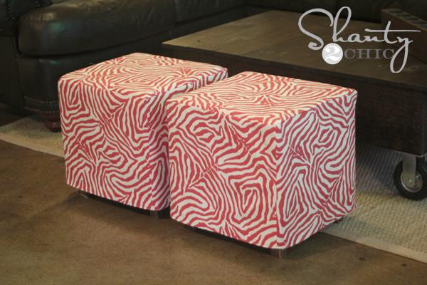 Diy Cube Ottoman Slipcover Shanty 2 Chic