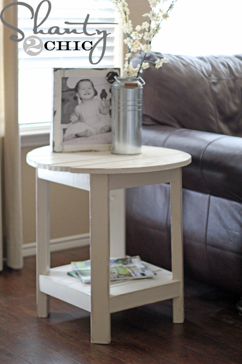 Diy pottery barn inspired benchright side table shanty 2 for Diy accent table ideas