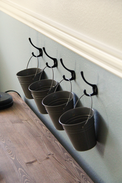 metal buckets with hooks