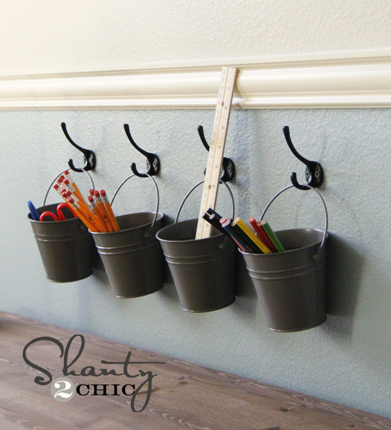 Kids art supply buckets on hooks shanty 2 chic for Metal art craft supplies