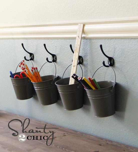 Kid Art Storage. Supply Buckets. Metal Buckets Hooks