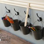 Kids Art Supply Buckets on Hooks