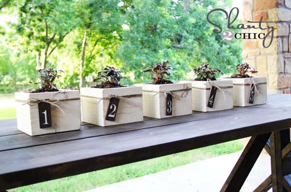 Diy Wood Centerpiece Box : Diy centerpiece ~ mini planter boxes shanty 2 chic