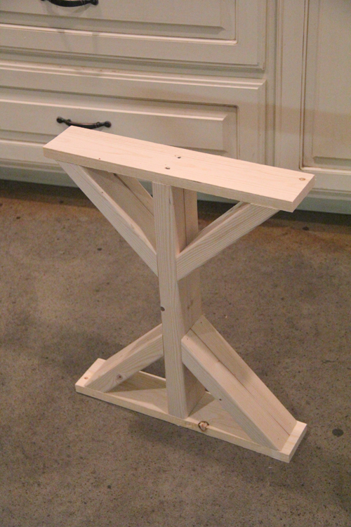 Diy desk for bedroom farmhouse style shanty 2 chic for Cross leg table plans