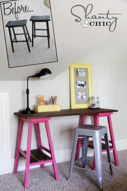 Diy Barstool Desk Shanty 2 Chic