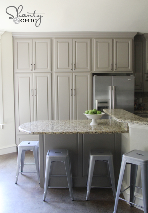 Gray and Cream Painted Kitchen Cabinets