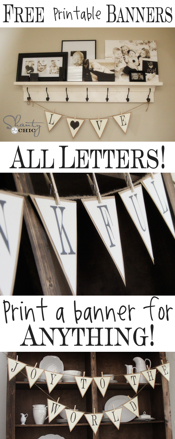 Free Printable Whole Alphabet Banner  Shanty  Chic