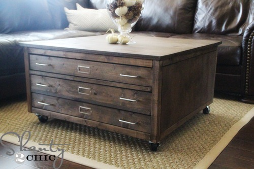 Check Out My Awesome DIY Coffee Table on Wheels - Shanty 2 Chic