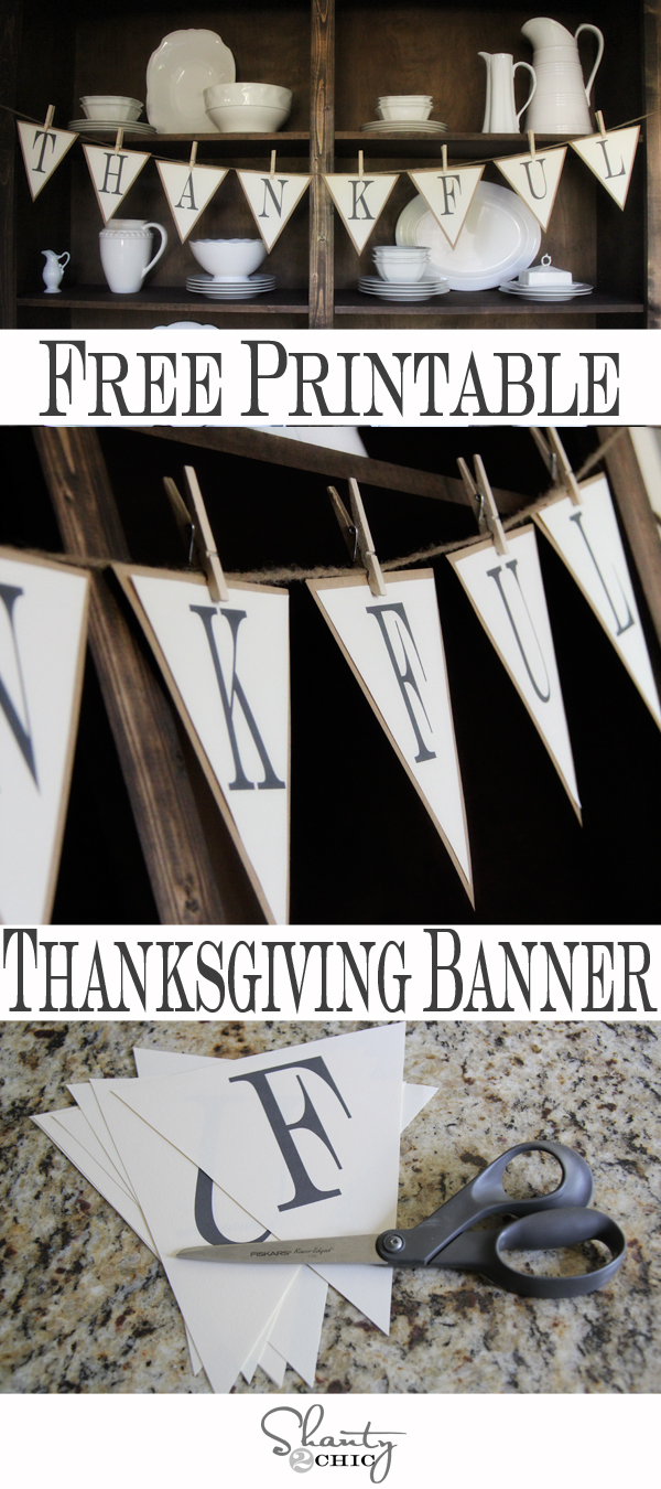 It is a picture of Enterprising Thanksgiving Banner Printable