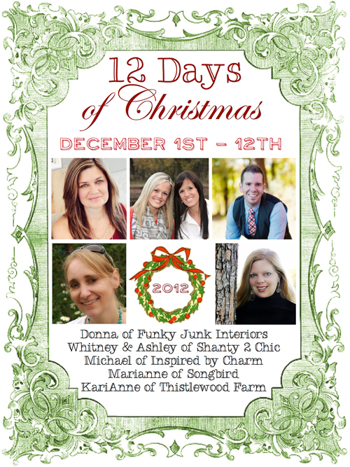 you are invited to step into the festive homes of 6 fun bloggers for 12 days where we will show you what christmas means to us