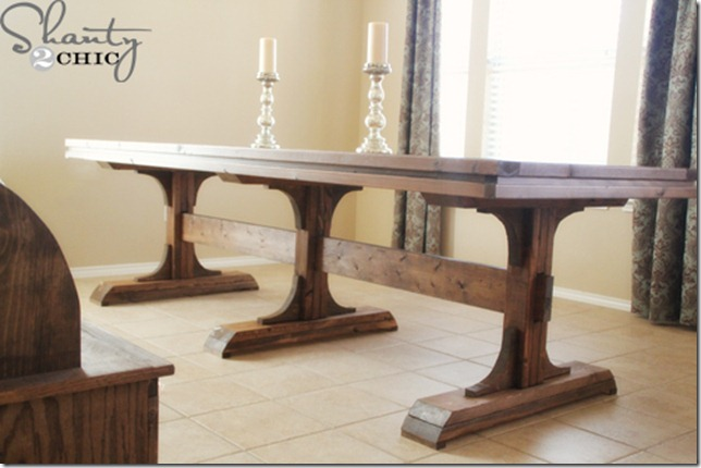 Diy dining table triple pedestal farmhouse shanty 2 chic Diy farmhouse table