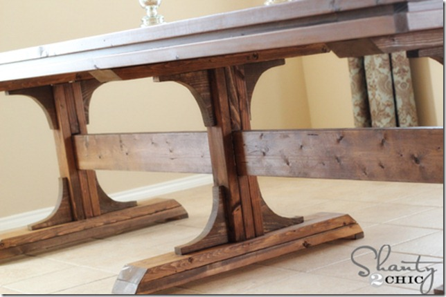 Diy dining table triple pedestal farmhouse shanty 2 chic for Farm table legs diy