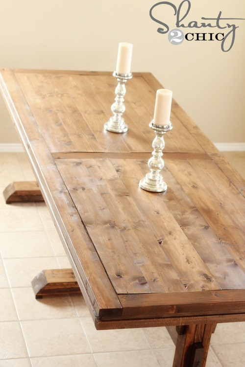 DIY Dining Table  Triple Pedestal Farmhouse Shanty  Chic - Build a dining table