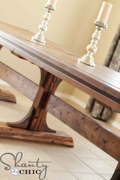 Diy dining table triple pedestal farmhouse shanty 2 chic for Pedestal table diy