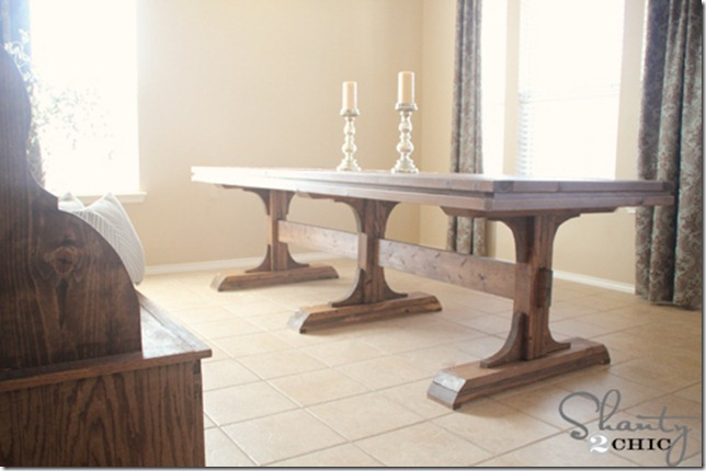 Diy dining table triple pedestal farmhouse shanty 2 chic Pedestal farmhouse table plans