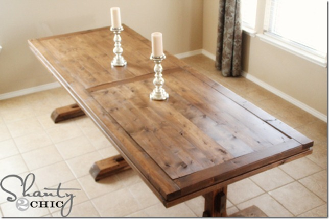 DIY Dining Table ~ Triple Pedestal Farmhouse