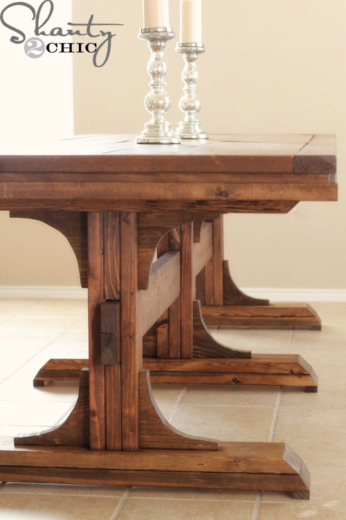 diy dining table triple pedestal farmhouse shanty 2 chic
