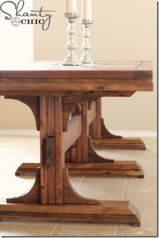 diy dining table triple pedestal farmhouse shanty 2 chic. Black Bedroom Furniture Sets. Home Design Ideas