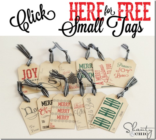 Shabby Chic Free Printable Holiday Tags from Shanty 2 Chic