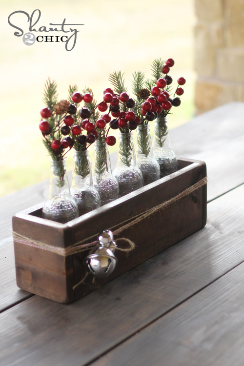 Christmas centerpiece soda bottle crate shanty chic