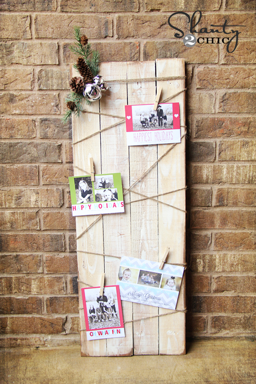 Christmas card holder diy shanty 2 chic - Christmas card wall holder ...