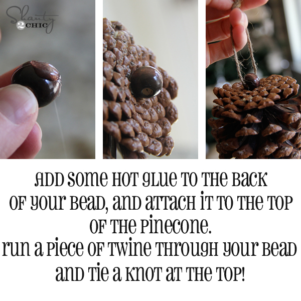Diy pinecone ornaments my tree shanty 2 chic for How to make pine cone christmas ornaments