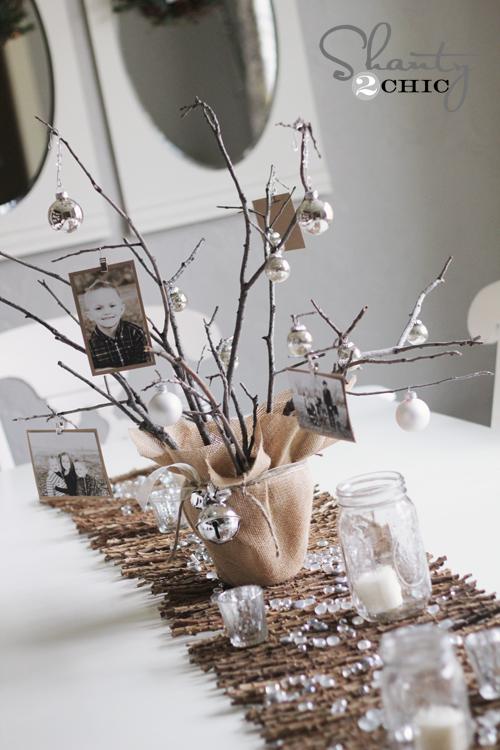 Photo tree centerpiece diy shanty 2 chic - Deco table noel chic ...