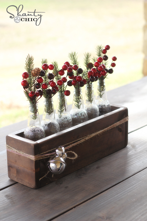 Christmas centerpiece soda bottle crate shanty 2 chic for Salon xmas decorations