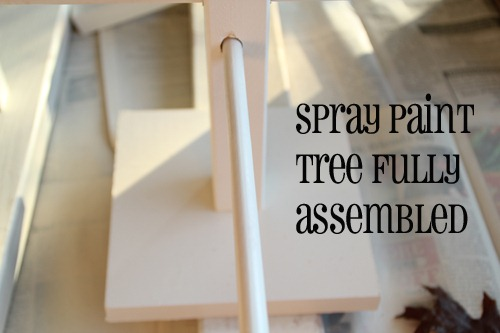 found it easiest to spray paint the dowels while they were in the tree. Black Bedroom Furniture Sets. Home Design Ideas