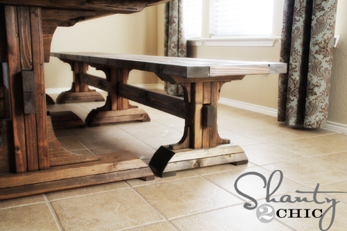 DIY Furniture Triple Pedestal Bench Shanty 2 Chic