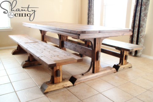 table and bench set plans