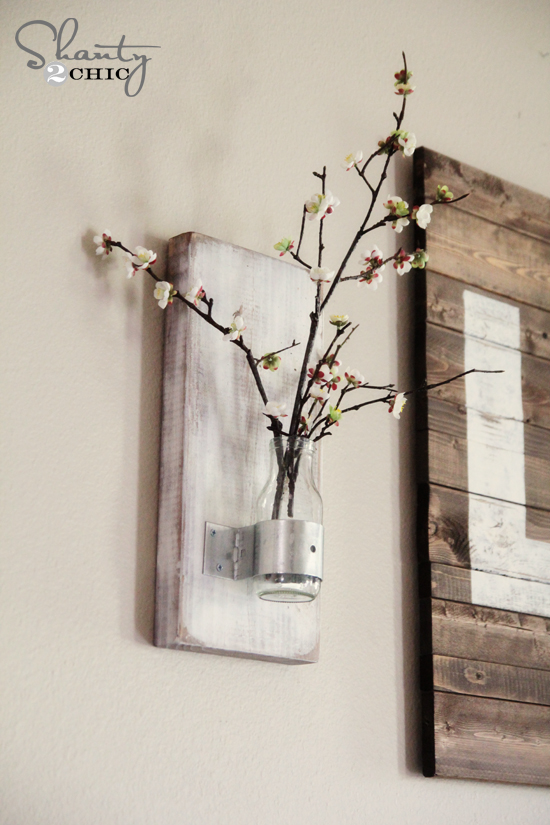 Glass bottle wall vase shanty 2 chic for How to build a bottle wall