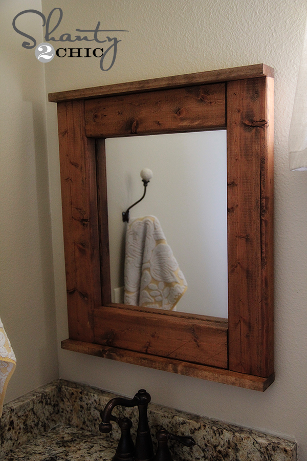 wood framed bathroom mirrors wood mirror diy shanty 2 chic 21699