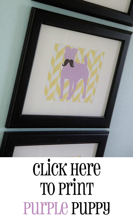 Print Purple Puppy Printable