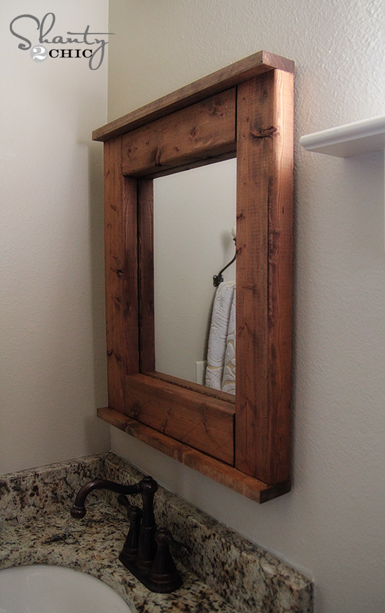 wooden framed mirrors for bathroom wood mirror diy shanty 2 chic 24730