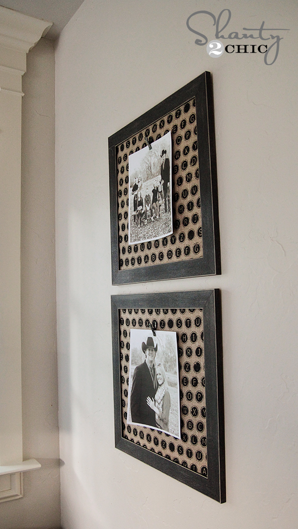 Photo Frames with Burlap and clips