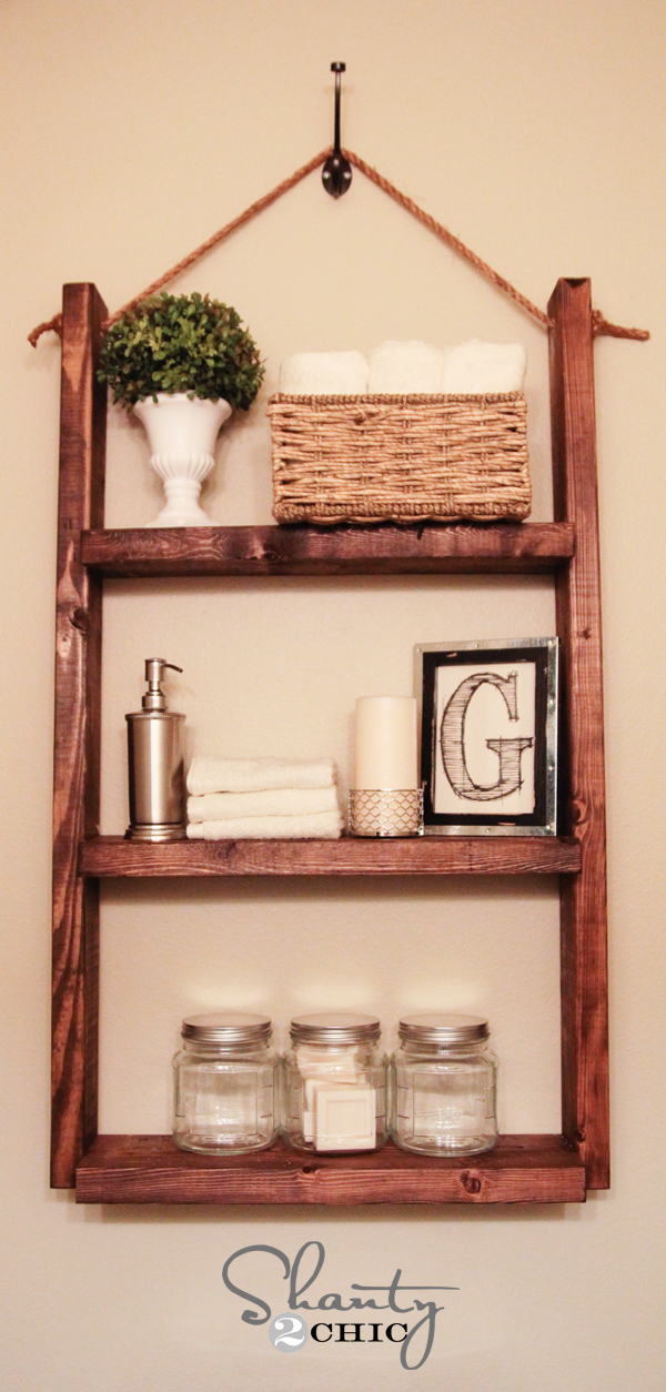 How to make a Hanging Bathroom Shelf for only $10! - Shanty 2 Chic