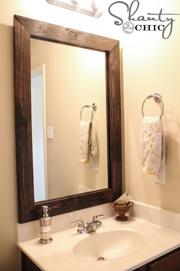 Diy bathroom projects steam shower inc for Inexpensive framed mirrors