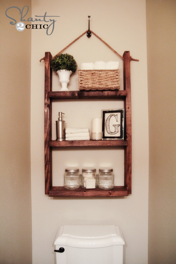 Attractive Hanging Bathroom Shelf Tutorial