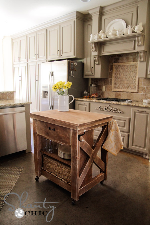 Large Rustic Kitchen Island Two Sides