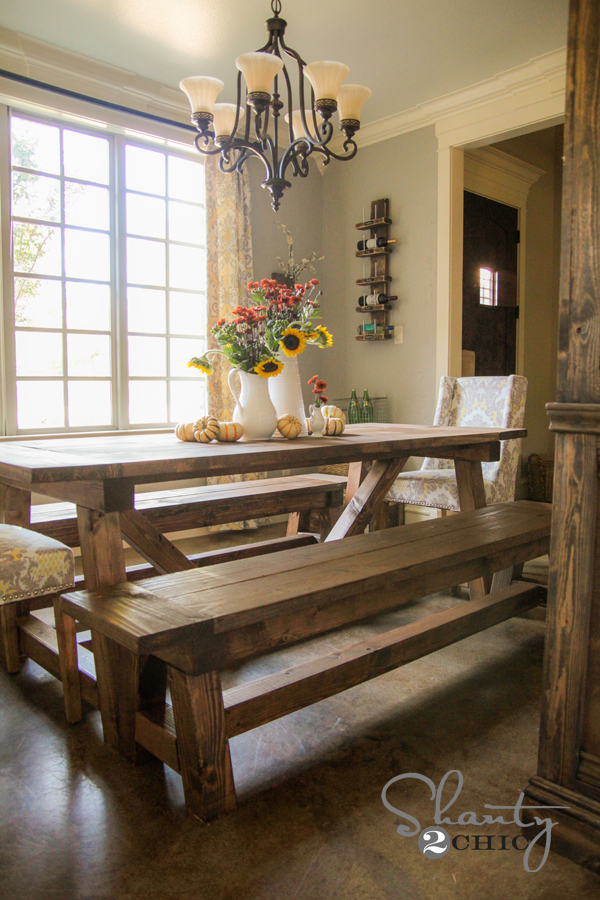 Attractive DIY Dining Table And Benches