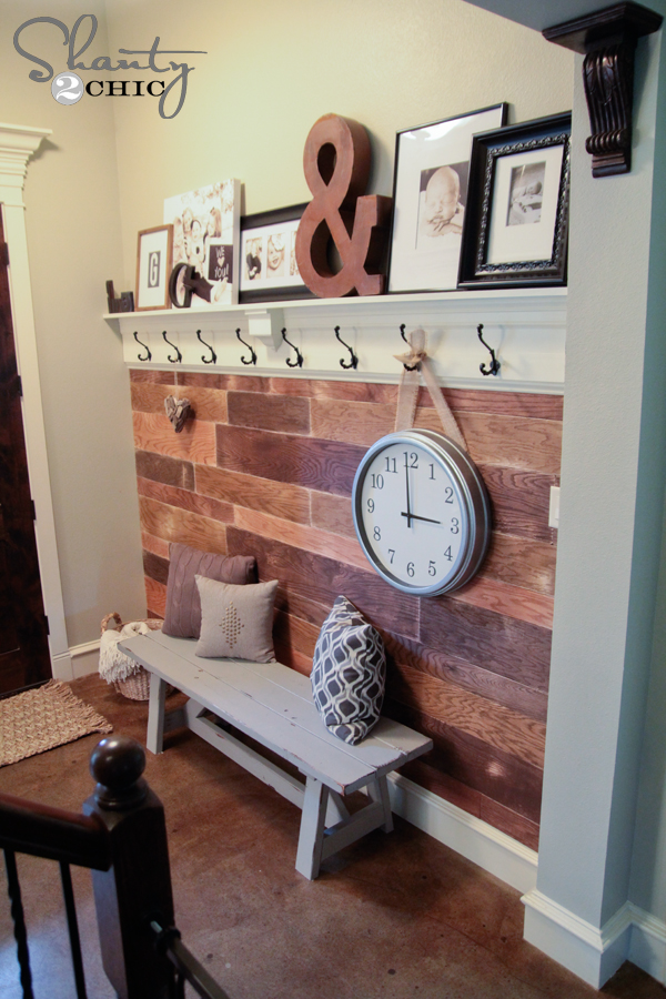 diy shelf for the entryway with hooks shanty 2 chic. Black Bedroom Furniture Sets. Home Design Ideas