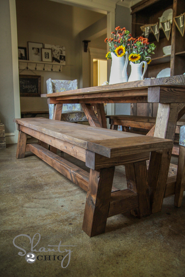 dining room bench table | DIY $40 Bench for the Dining Table - Shanty 2 Chic