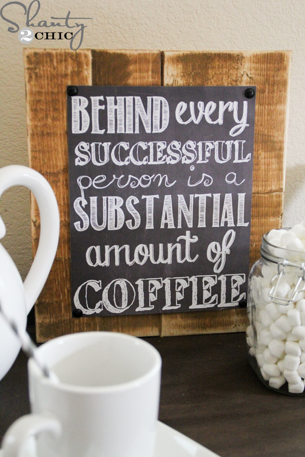 Behind Every Successful Person is a Substantial Amount of Coffee - Round Up of Free Coffee-Nook Printables, Plus a Rental-Friendly Nails-Free Hack for Hanging Them! via Devastate Boredom