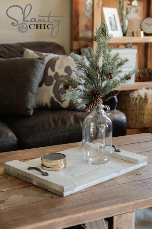 DIY Wood Coffee Table Tray