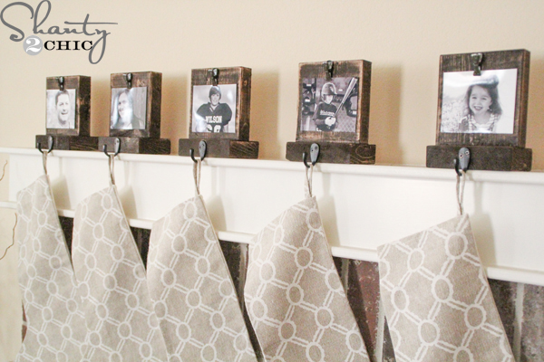 Diy photo stocking hangers shanty chic