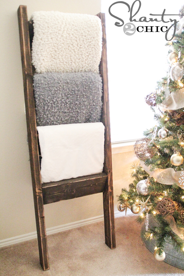 $10 Wooden Blanket Ladder - Shanty 2 Chic : how to build a quilt rack - Adamdwight.com